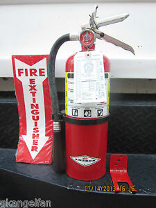 QUALITY 5lb  ABC FIRE EXTINGUISHER W/2021 CERTIFICATION TAG, WALL BRACKET & SIGN