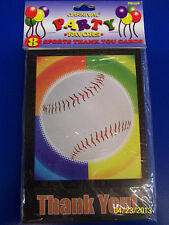 Baseball Party Ball Sports Banquet Birthday Thank You Notes Cards w/Envelopes