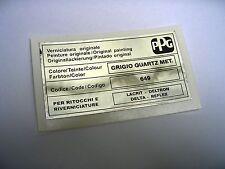 LANCIA DELTA INTEGRALE PPG COLORE / COLOUR / FARBTON GRIGIO QUARTZ 649 STICKER
