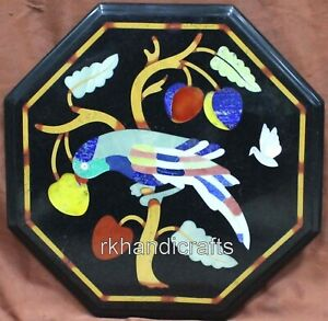 12 Inches Black Marble Coffee Table Top Inlay with Bird Pattern Side Table
