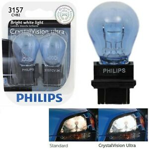 Philips Crystal Vision Ultra Light 3157 27/7W Two Bulbs Front Turn Signal Stock