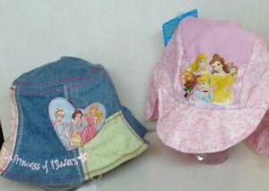 2 Toddler/Infant Girls Hats: Disney Princess Bucket Hat & Pink Princess Sun Hat