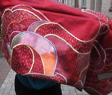 Soie Rouge/écharpe Wrap, Rimpa broderie/doublé/58 insx19 ins. Wallhanging/Handwork,