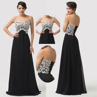 BLACK&WHITE Long Chiffon Bridesmaid Evening Party Prom Cocktail Ball Gown Dress