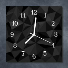 Glass Wall Clock Kitchen Clocks 30x30 cm silent 3D Pattern Black