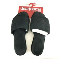 Dearfoams Womens Slippers Slides Quilted Fuzzy Cushioned Black Size XL 11-12