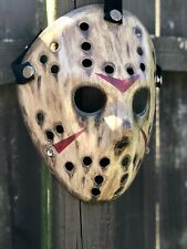 Jason Voorhees Dirtied Wooden Look Custom Painted Mask- High Quality Art
