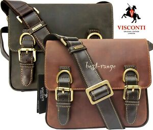 Visconti Leather Messenger Bag Brown or Tan Medium Size Quality Unisex New16012