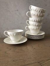 5 tea coffee cups saucers  Wedgwood Etruria Barlaston Embossed Queensware Cream