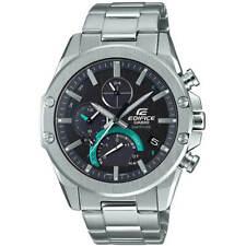 Casio мужские часы Edifice кварц черный циферблат серебряный браслет аналоговый EQB1000D-1A