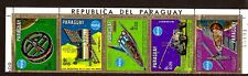 PM136 PARAGUAY neuf 1 bande 5 timbres:le cosmos,véhicule lunaire,satellites,