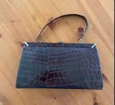 Handtasche Leder Braun - Vintage 1960 Krokoprägung Retro