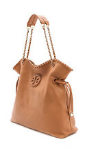 New Tory Burch Marion Slouchy Tote Tan /Brown Leather w/ Dust Cover