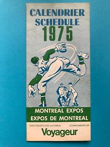1975 MONTREAL EXPOS POCKET SCHEDULE AUTOBUS VOYAGEUR