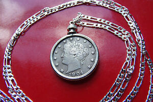 """Antique USA Full Liberty V Nickel Pendnat set on a 28"""" 925 Sterling Silver Chain"""