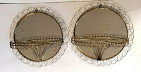 "Vtg MCM Gold Metal Wire Wall Mirrored Shelf Sconce Pocket Atomic 11"" round Retro"