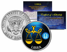 LIBRA Horoscope Astrology Zodiac Kennedy U.S. Colorized Half Dollar Coin