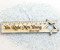 Personalised Oak  Teacher Gift Wood Ruler End Of Term Thank You Present Bookmark