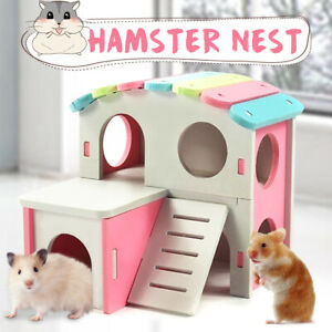 Wooden Hamster House Pet Bed Nest Climbing Ladder Cage W/ Stairs Playing Toy