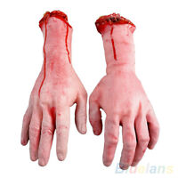 EP_ Bloody Hands Zombie Skinned Arm Skeleton Halloween Prop Body Parts Walking D