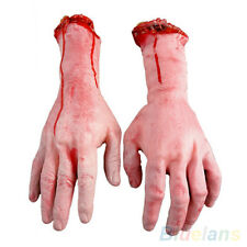 BE_ EP_ Bloody Hands Zombie Skinned Arm Skeleton Halloween Prop Body Parts Walki