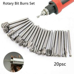 20X HSS Carbide Burr Set Rotary Drill Bits Die Grinder Carving Engraving Dremel