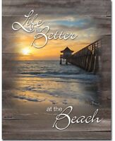 Life is better at the beach Metal tin sign home vacation garage Wall decor new