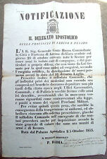 1849 FINE REPUBBLICA ROMANA OCCUPAZIONE DI ANCONA SU LICENZA ARMI.GENERALE HOYOS