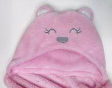 CARTERS PINK HOOD HOODED TEDDY BEAR EAR GRAY EMBROIDERY BABY GIRL BLANKET