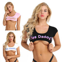 Women Yes Daddy Letter Casual Tank Tops Vest Blouse Short Sleeve Crop Cami Shirt
