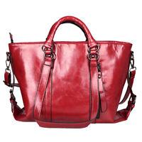 Lady Women Fashion Handbag Shoulder Bag Oiled Leather Tote Purse Crossbody Bag
