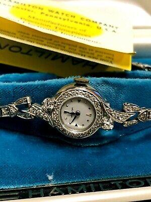 Vintage 14k Solid White Gold Ladies Hamilton 22j Watch, Band Original Box 757