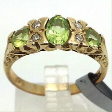 9ct Gold natural Peridot and diamond ring, UK size M, new, actual one shown.
