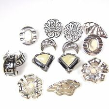 Vintage Earrings Lot 80's Pierced Ear Silver Tone Statement Big 7 Pairs Enamel