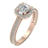 Solitaire Halo Engagement I1 G 1.50 Ct Natural Diamond Ring Rose Gold Prong Set