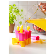 Ice Popcicle Molds Fruit Fuice molds Set of 6 Pink Yellow NEW sealed pkg