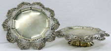 Antique Pair of Tiffany & Co. Sterling Silver Pierced Repousse Tazza Stand