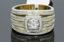 10K YELLOW GOLD .79 CARAT MENS REAL DIAMOND ENGAGEMENT WEDDING PINKY RING BAND