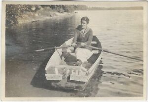 Pretty Young Woman Rows Boat on Shore of Lake Vintage Water Outdoor Snapshot