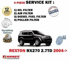 FOR SSANGYONG REXTON RX270 2.7DT 2004-> OIL AIR FUEL POLLEN FILTER SERVICE KIT