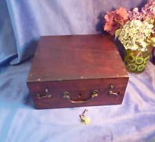 More details for antique mahogany instrument box, georgian, victorian, lock & key, brass handle