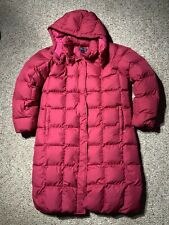 LANDS' END Medium 12-14 Long GOOSE DOWN QUILTED PUFFER JACKET Coat Pink