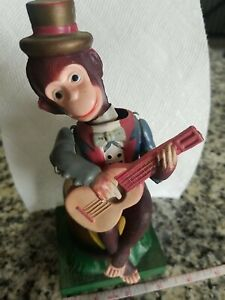 Alps guitar playing monkey celluloid wind-up Sambo sitting Japan RARE vintage