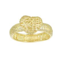 Stil Novo 14k Yellow Gold Textured Puffed Mesh Heart Top 4mm Band Ring Size 7