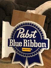 NEW Pabst Blue Ribbon PBR Beer Pub Side Mount Double-sided Tin Tacker Sign Bar