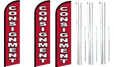 Consignment Windless Flag With Hybrid Pole Set 3 Pack