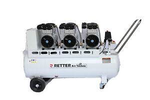 Flüster Kompressor Luftkompressor Druckluft Leise Silent 120l Kessel RETTER 6 PS