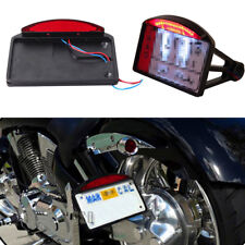 LED Side Mount License Plate Frames Tail Light For Harley Yamaha Bobber Chopper