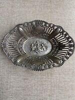 """800 Silver ~ REPOUSSE CHERUB BOWL ~ German Putti Cupid Basket - 7"""" x 5"""""""
