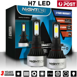 NIGHTEYE H7 Car LED Headlight 72W 9000LM Globes Bulbs 6500K White Beam Lamps AU